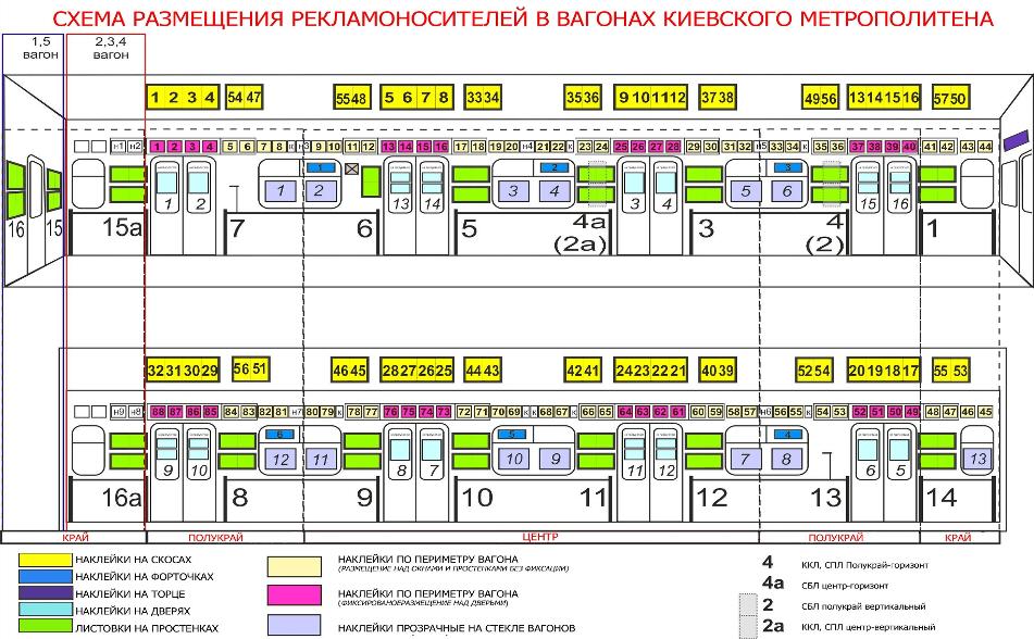 Схема вагона метро и